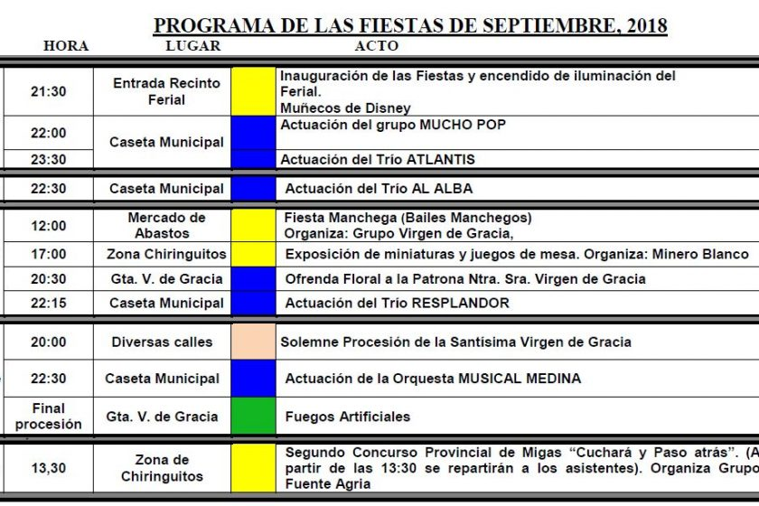 Diponible el programa de las Fiestas de Septiembre 2018